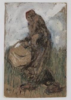 Woman with Basket - Original Ink, Tempera and Watercolor by G. Galantara - 1905