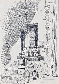 Glimpse of a House - Original China Ink - Mid-20th Century