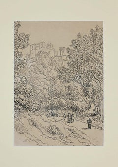On the road to Lanciano - Original China Ink - 18th Century