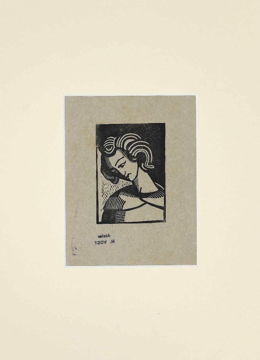 Portrait - Original Woodcut Print by Helen Vogt - Mid-20th Century