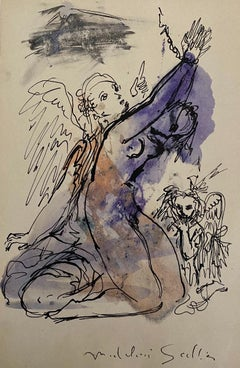 The Angels - Original China Ink and Watercolor by Madeleine Scellier - 1955