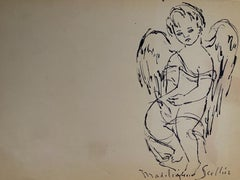 The Angels - Original China Ink by Madeleine Scellier - 1955