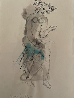 Figure - Original China Ink and Watercolor by Madeleine Scellier - 1955