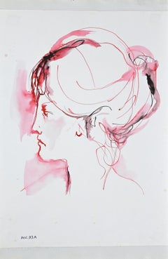 Price - Female Portrait- Original Ink and Watercolor Drawing  - 1960s