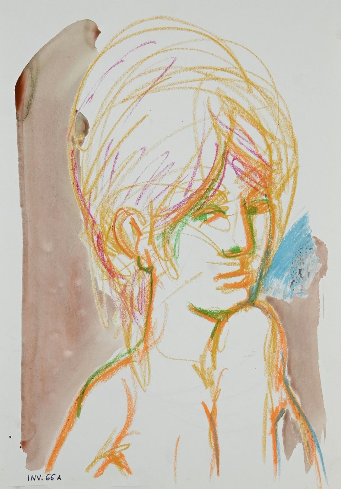 Female Portrait- Original Pastel and Watercolor - 1960s