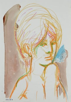 Female Portrait- Original Pastel and Watercolor - 1960s