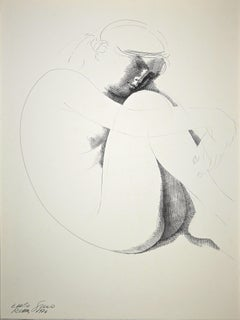Crouched Nude - Original China Ink Drawing by E. Greco - 1974