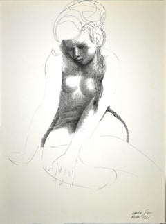 Nude of Woman - Original China Ink Drawing by E. Greco - 1973