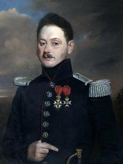 Military Portrait - Original Oil Painting by Henri Valton - 1850 ca.