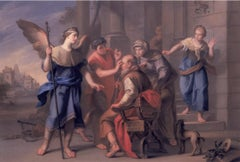 Tobias Healing His Father's Blindness -Oil Painting attr Antonio Rossi- 1740 ca.