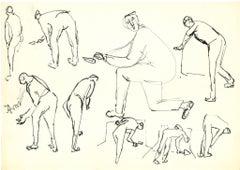 Figures - Labor Study - Original China ink by Herta Hausmann - Mid-20th Century
