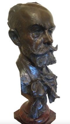 Head of a Gentleman - Bronze Sculpture by Julien Prosper Legastelois - 1894