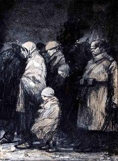 Austrian Soldier with Prisoner - Original Drawing by Gabriele Galantara - 1914