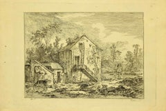 Country Houses - Original Etching by Baron De Thiers - 1760s