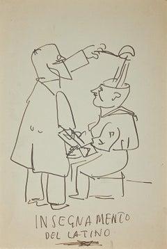 Teaching of Latin - Original Ink Drawing - Mid-20th Century