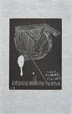 Fleur Alarmée pour Arp - Original Woodcut by Michel Seuphor - 1969
