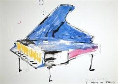 Fluxus Piano  - Original Lithograph by Giuseppe Chiari - Late 20th century