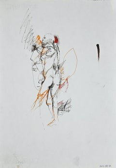 Standing Male Nude - Original Ink Drawing - 1970s