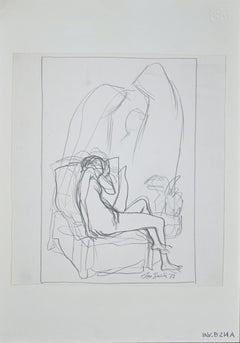 Lying Nude - Original Pencil Drawing by Leo Guida - 1972
