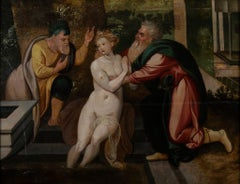Susanna and the Elders - Original Painting by Circle of F.Floris - 16th Century