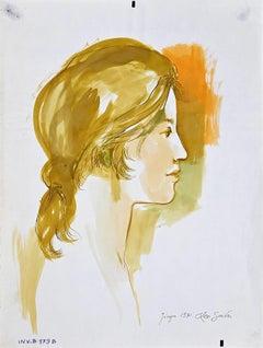 Female Profile - Original Ink and Watercolor by Leo Guida - 1970