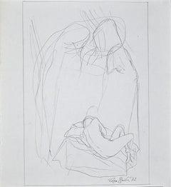 Reclining Nude - Original Pencil Drawing by Leo Guida - 1972