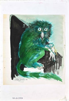 The Owl - Original Mixed Media Drawing by Leo Guida - 1970