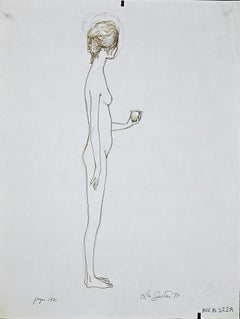 Standing Girl - Original Ink Drawing by Leo Guida - 1970