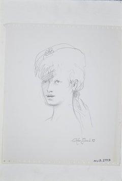 A Girl - Original Pencil Drawing by Leo Guida - 1972