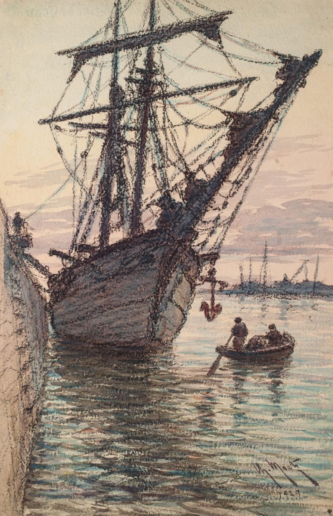 Sailing Ship in the Harbour - Original Watercolor  - 1929