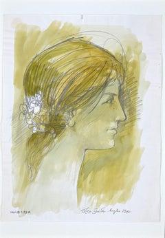 Female Profile - Original Ink and Watercolor by Leo Guida - 1972