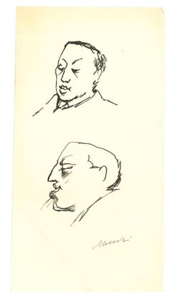 Portrait of Leo Longanesi - Original Ink Drawing by Mino Maccari - 1950s