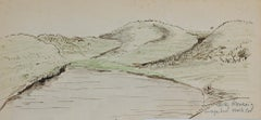 Landscape - Original Ink and Pastel Drawing - Mid-20th Century