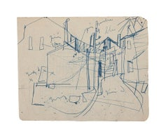 In Town - Original Pen Drawing - Mid-20th Century