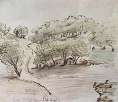 Houses in the Wood  - Original Ink and Watercolor - Mid-20th Century
