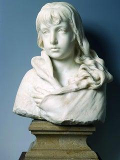 Bust of a Girl - Original Sculpture by Francesco Jerace - 1900 ca