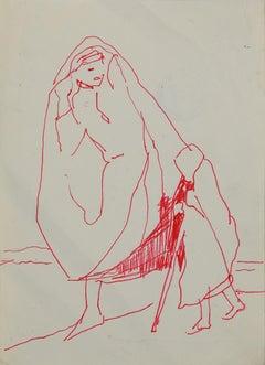 Figures - Original China ink by Herta Hausmann - Mid-20th Century