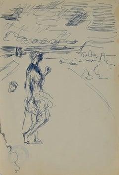 Figure on the Beach - Original China ink by Herta Hausmann - Mid-20th Century