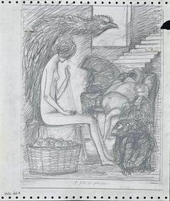 The Thread is Broken - Original Pencil Drawing by Leo Guida - 1970s
