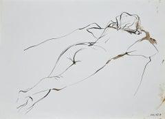 Nude of Woman- Original China Ink - 1970s