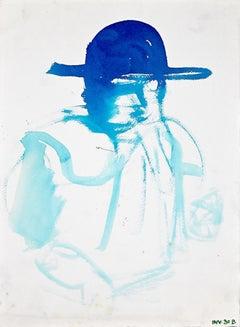 Blue Profile - Original Watercolor on paper - 1970s