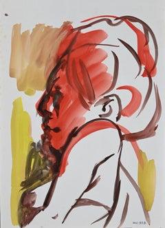 Woman Red Profile - Original Watercolor on paper - 1970s