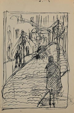 Street with Figures - Original Pencil and Ink by Helen Vogt - 1929