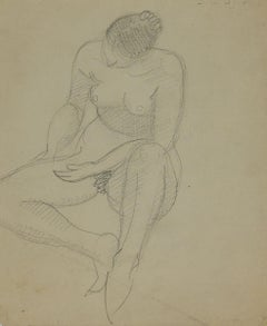 Naked Woman  - Original Pencil by André Meaux Saint-Marc - Early 20th Century