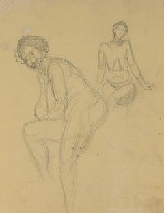 Naked Woman  - Original Pencil by André Meaux Saint-Marc - 20th Century