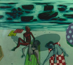 Figures on the Beach - Original Oil on Canvas by Alberto Cavallari - 1960s