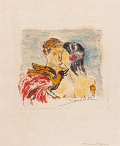 The Kiss - Original Drawing by Bouval - Late 20th Century