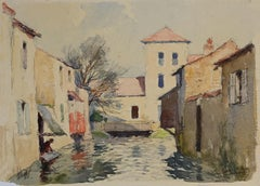 Houses on the River - Original Watercolor by R. G. Gautier- Mid-20th Century