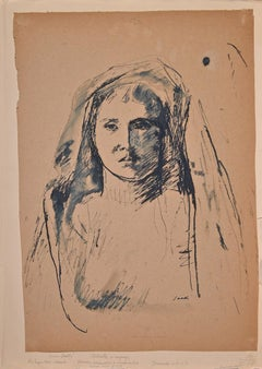 Woman's Portrait in Shadow - Original Ink and Pen by Bruno Saetti - 1940