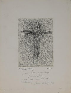 Christ on the Cross - Original Etching by Antoine Revoy - 1983